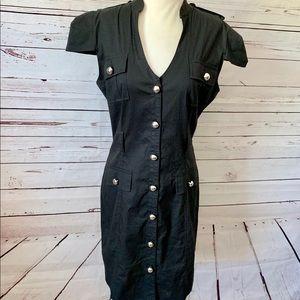 Express Women Sz 10 Black Button Down Dress